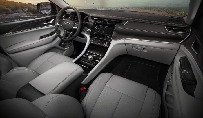 The all-new 2021 Jeep® Grand Cherokee L Overland features a premium, spacious interior with standard 10-inch display screens, including a frameless digital gauge cluster and Uconnect 5 10.1-inch touchscreen radio.