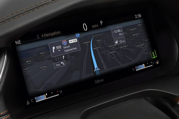 The all-new 2021 Jeep® Grand Cherokee L Summit Reserve has a standard 10.25-inch frameless digital cluster with a full-screen, turn-by-turn navigation map.