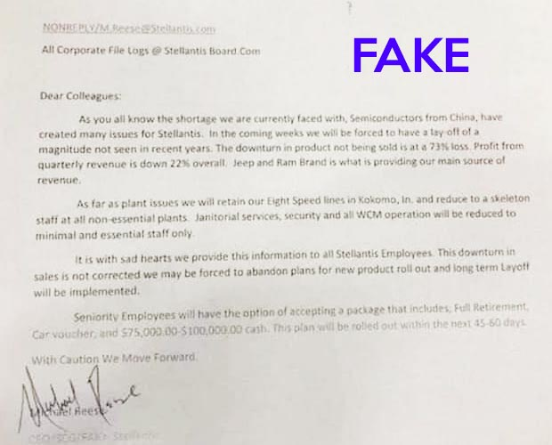 fake stellantis letter
